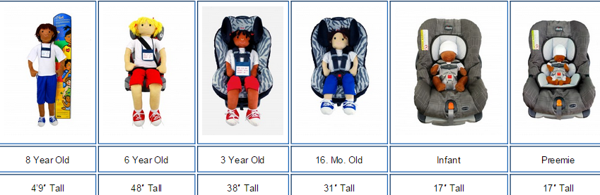 Various Huggable Car Seat Safety Dolls